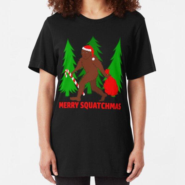 Merry Squatchmas Funny Christmas Bigfoot Santa Slim Fit T-Shirt