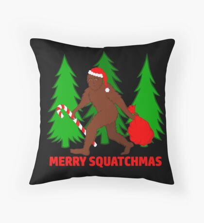 Merry Squatchmas Funny Christmas Bigfoot Santa Throw Pillow