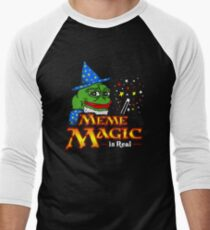 Meme Magic Is Real Pepe The Frog Wizard Men's Baseball ¾ T-Shirt