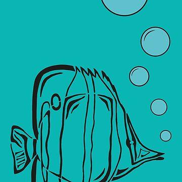 African butterflyfish is bubbling by alijun