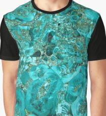 Marble Turquoise Blue Gold Graphic T-Shirt