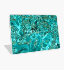 Marble Turquoise Blue Gold Laptop Skin