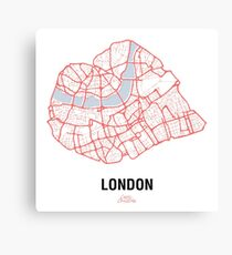 London Heart – hand drawn map of central London Canvas Print