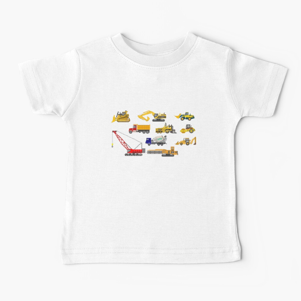 Construction Vehicles - The Kids' Picture Show - 8-Bit Baby T-Shirt