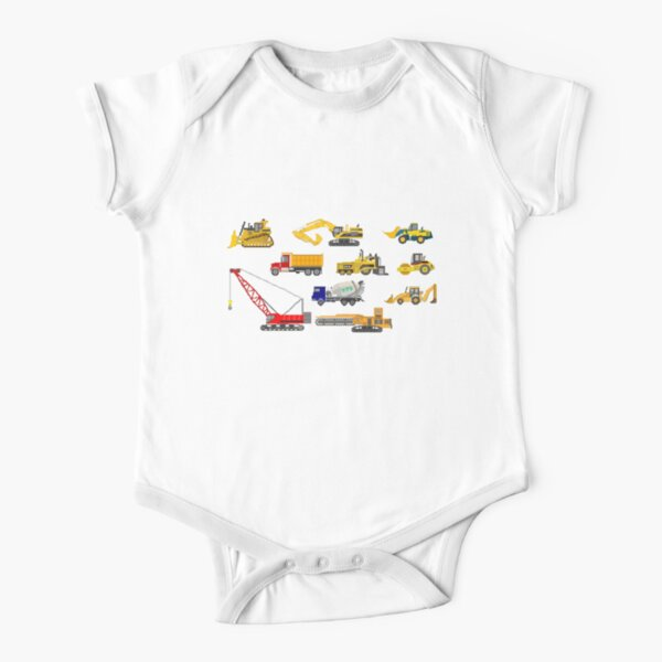 Construction Vehicles - The Kids' Picture Show - 8-Bit Short Sleeve Baby One-Piece