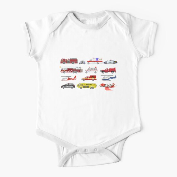 Emergency Vehicles - The Kids' Picture Show Short Sleeve Baby One-Piece