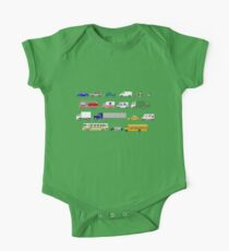 Street Vehicles - The Kids' Picture Show - 8-bit One Piece - Short Sleeve