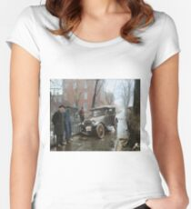Auto Wreck in Washington DC, 1921. Colorized Fitted Scoop T-Shirt