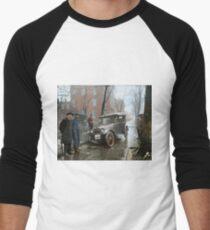 Auto Wreck in Washington DC, 1921. Colorized Men's Baseball ¾ T-Shirt