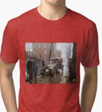 Auto Wreck in Washington DC, 1921. Colorized Tri-blend T-Shirt