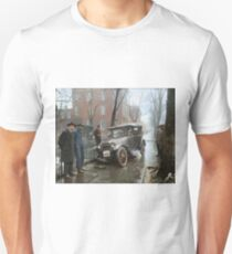 Auto Wreck in Washington DC, 1921. Colorized Slim Fit T-Shirt