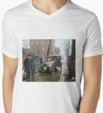 Auto Wreck in Washington DC, 1921. Colorized V-Neck T-Shirt