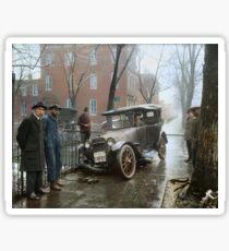 Auto Wreck in Washington DC, 1921. Colorized Sticker