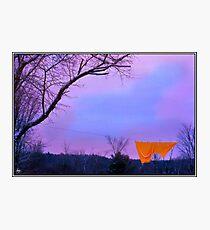 Orange Bedspread on Winter Line Photographic Print