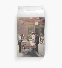 Clam seller on Mulberry Bend, New York, ca 1900 Duvet Cover