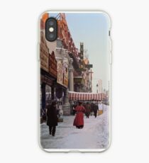 Piles of snow on Broadway, after storm, New York, ca 1905 Colorized iPhone Case