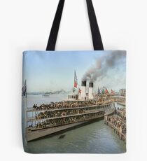 Sidewheeler Tashmoo leaving wharf in Detroit, ca 1901 Colorized Tote Bag