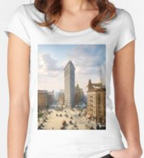 Flat Iron in New York City, ca 1903 colorized Women's Fitted Scoop T-Shirt