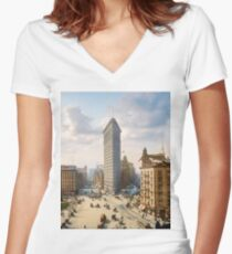 Flat Iron in New York City, ca 1903 colorized Women's Fitted V-Neck T-Shirt