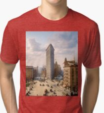 Flat Iron in New York City, ca 1903 colorized Tri-blend T-Shirt