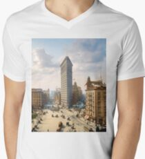 Flat Iron in New York City, ca 1903 colorized Men's V-Neck T-Shirt