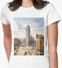 Flat Iron in New York City, ca 1903 colorized Women's Fitted T-Shirt