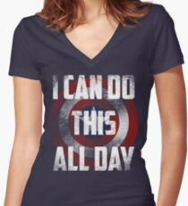 I can do this all day. shield Women's Fitted V-Neck T-Shirt