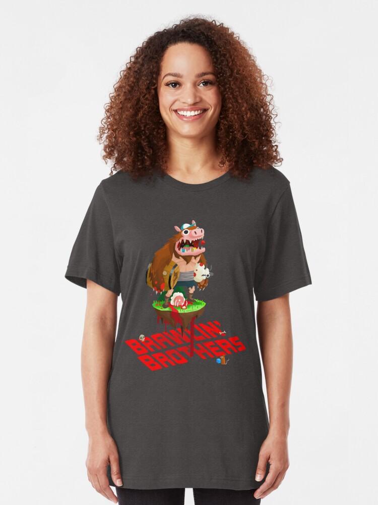 Alternate view of Brawling Brothers - ManBearPig Slim Fit T-Shirt