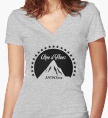 Alpe d'Huez (Black) Women's Fitted V-Neck T-Shirt