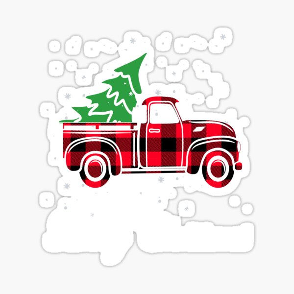 Red plaid Truck With Merry Christmas Tree Sticker