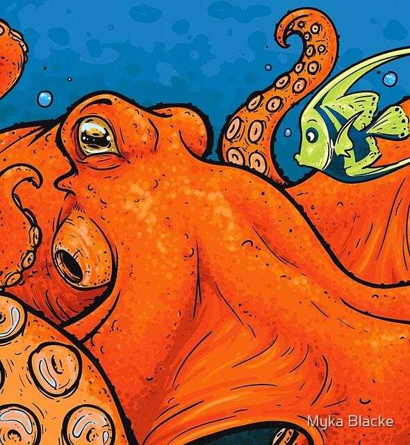 Ein enormer orange Krake von Myka Blacke
