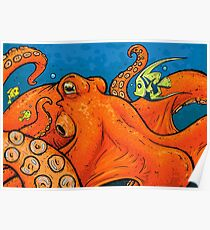 An Enormous Orange Octopus Poster
