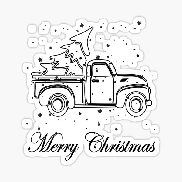 Funny Cool Truck With Merry Christmas Tree Sticker