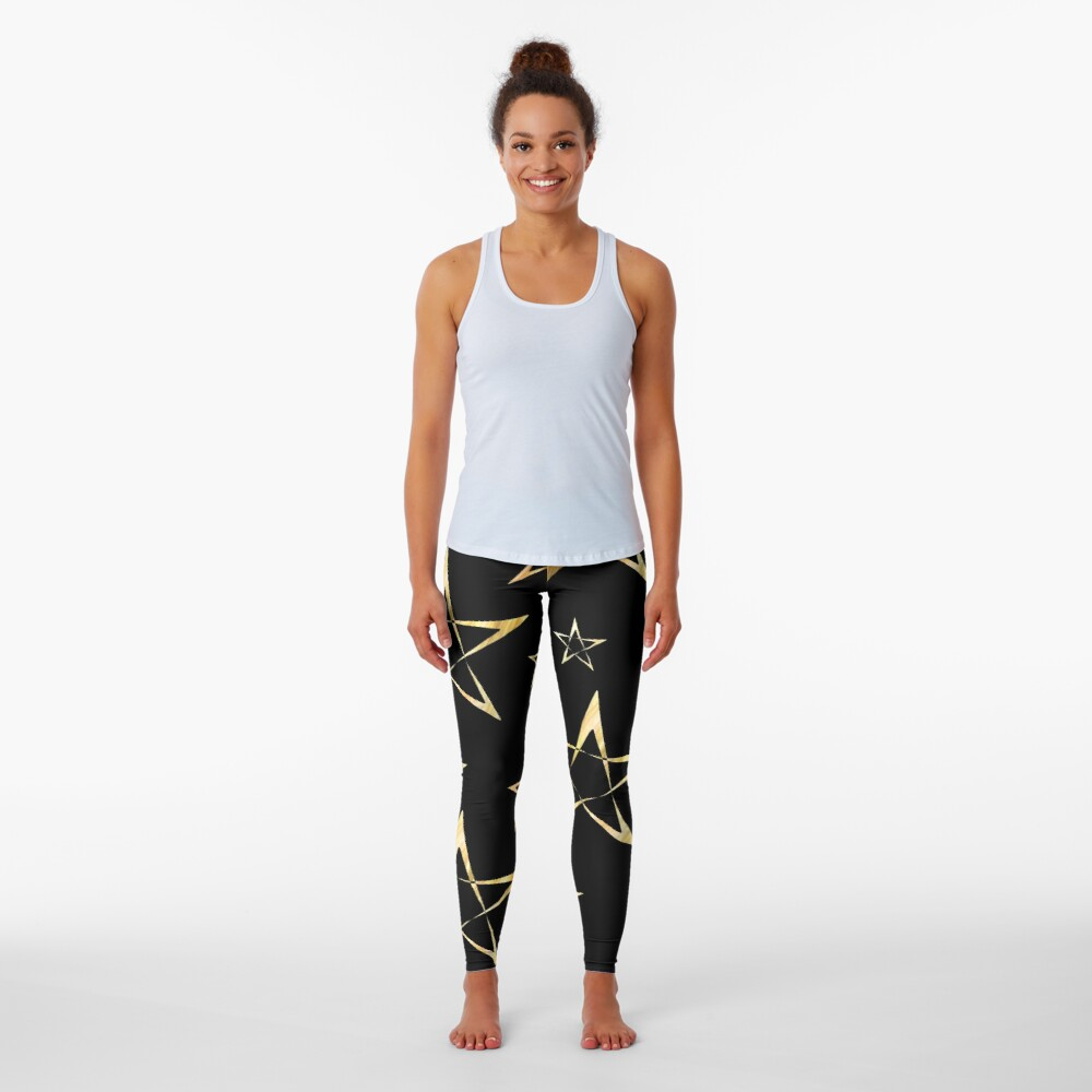 Golden Stars Print on Black Leggings
