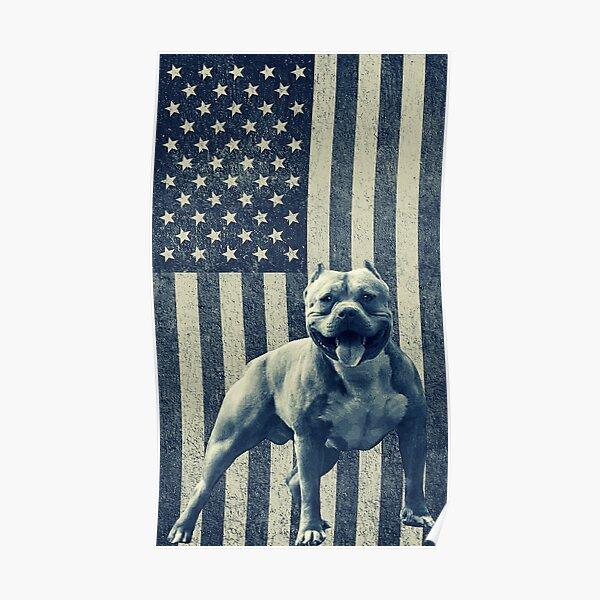 Usa American Flag Pitbull / Vintage Usa Flag American Pitbull Poster