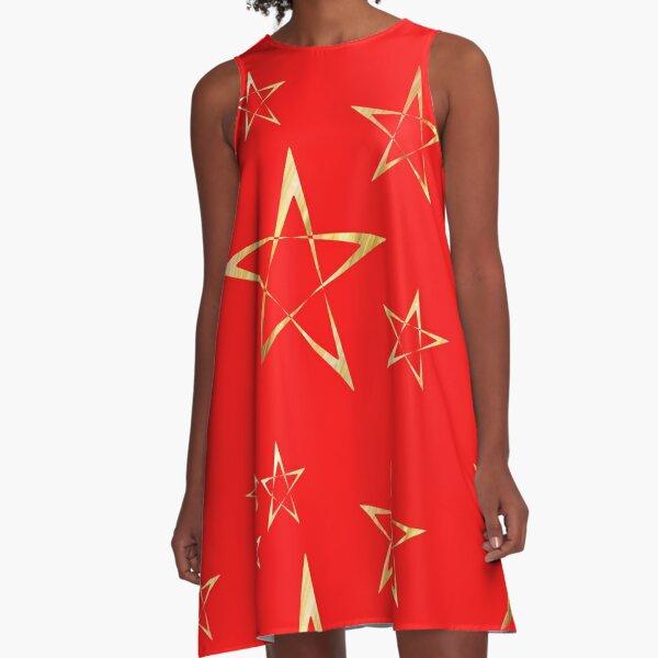 Golden Stars Print on Red A-Line Dress