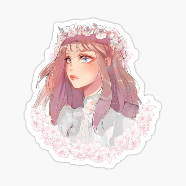 Girl with flower crown Sticker