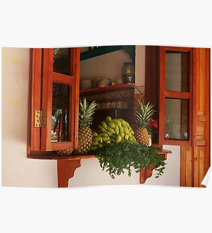 Kitchen Window in Mexico Poster