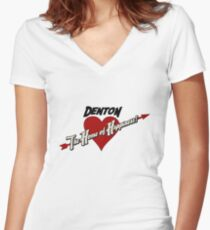 Denton - The Home of Happiness Women's Fitted V-Neck T-Shirt