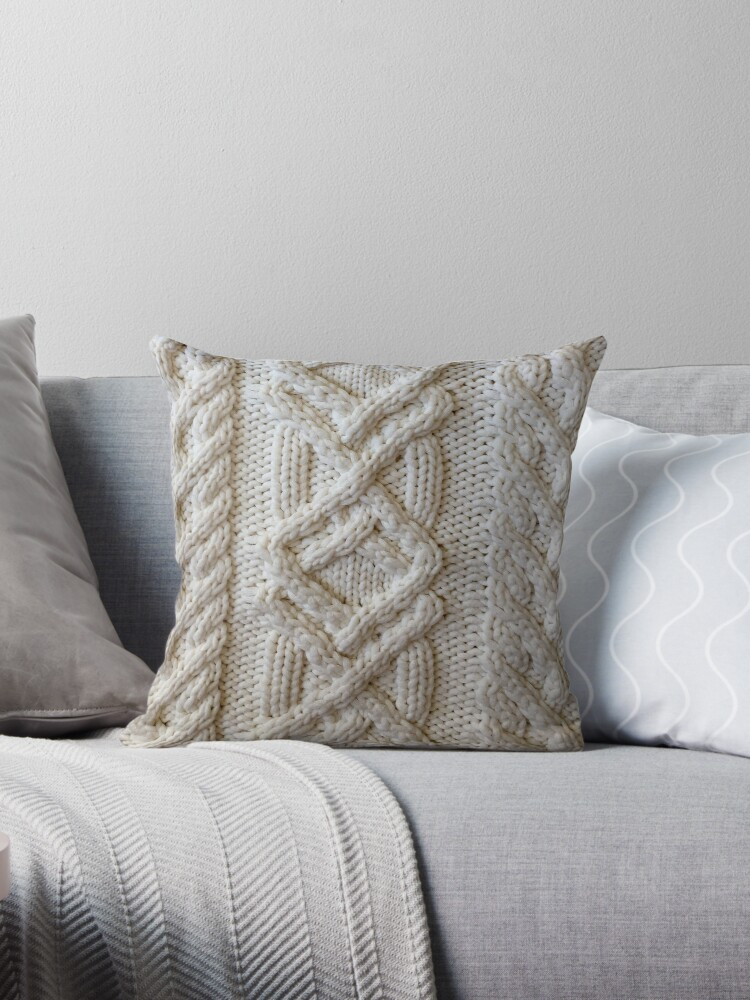 fisherman cable knit throw pillow by knititude redbubble