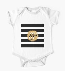 &,GOLD,cool text,typography,black,white stripes,modern,trendy One Piece - Short Sleeve