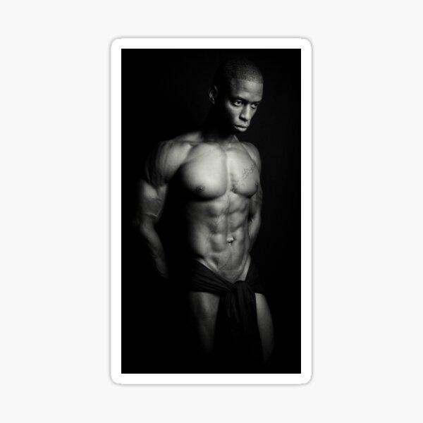 B + W imágenes masculinas pensativas Pegatina