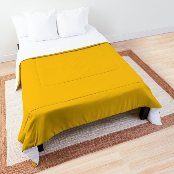 Golden Marigold Solid Color 2022 - 2023 Spring / Summer Trending Hue (Shade) Pairs Pantone Spectra Yellow 14-0957 Comforter