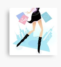 Long legs woman shopping in the city. Vector illustration of sexy long - legs woman with shopping bags Canvas Print