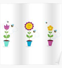 Spring garden flowers - tulip, sunflower and daisy Poster