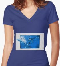 Soaring 2--Blue Eagle Women's Fitted V-Neck T-Shirt