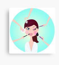 Make - up woman - facial treatment services Canvas Print