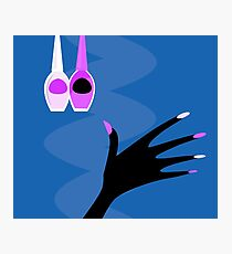 Hand with manicure set : blue and purple edition Photographic Print