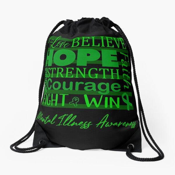 Love Believe Hope Mental Illness Awareness Drawstring Bag