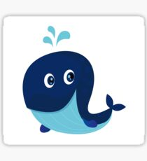 Big blue ocean cartoon whale Sticker